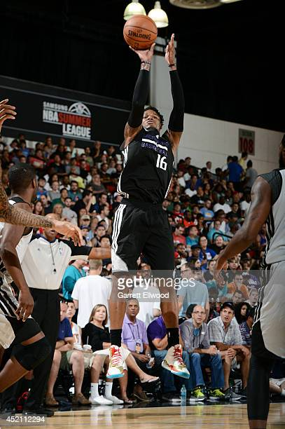 Ben McLemore of the Sacramento Kings shoots against the Charlotte Hornets at the Samsung NBA Summer League 2014 on July 13 2014 at the Cox Pavilion...