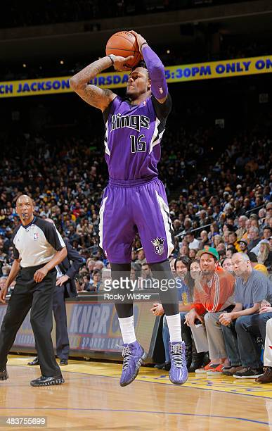 Ben McLemore of the Sacramento Kings shoots against the Golden State Warriors on April 4 2014 at Oracle Arena in Oakland California NOTE TO USER User...
