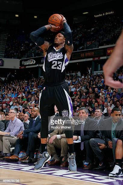 Ben McLemore of the Sacramento Kings shoots against the Los Angeles Lakers on April 13 2015 at Sleep Train Arena in Sacramento California NOTE TO...