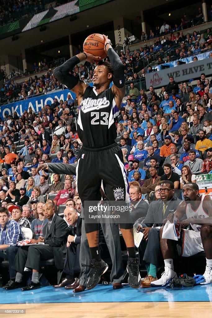 Ben McLemore of the Sacramento Kings shoots against the Oklahoma City Thunder on November 9 2014 at Chesapeake Energy Arena in Oklahoma City OK NOTE...