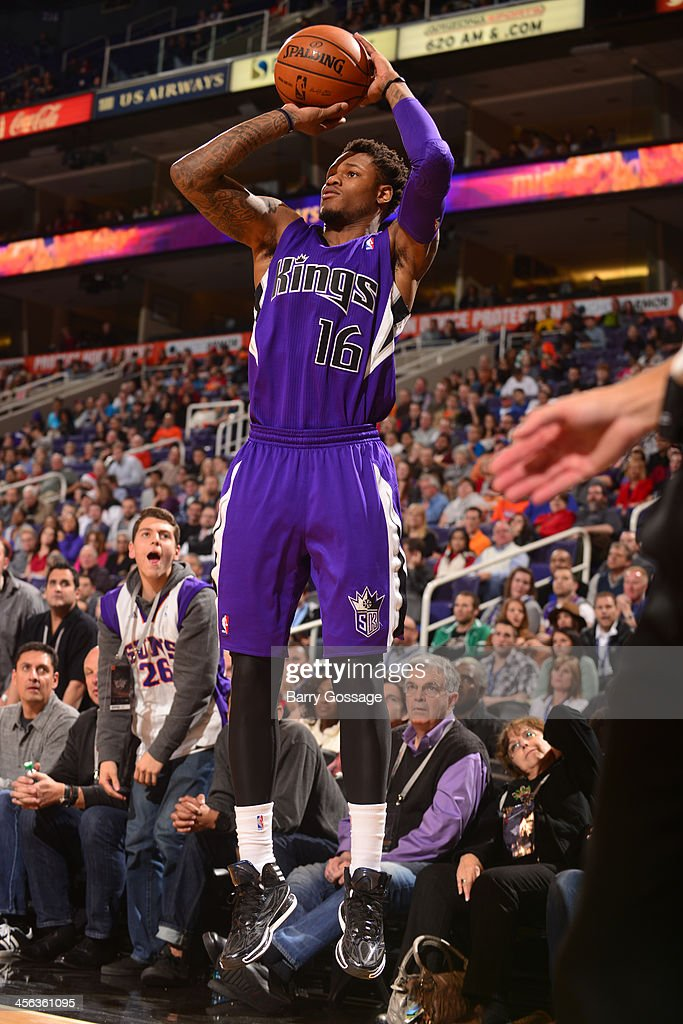 <a gi-track='captionPersonalityLinkClicked' href=/galleries/search?phrase=Ben+McLemore&family=editorial&specificpeople=9966388 ng-click='$event.stopPropagation()'>Ben McLemore</a> #16 of the Sacramento Kings shoots against the Phoenix Suns on December 13, 2013 at U.S. Airways Center in Phoenix, Arizona.