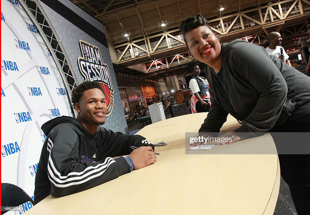 Ben McLemore #16 of the Sacramento Kings signs an autograph for a fan during the 2014 NBA All-Star Jam Session at the Ernest N. Morial Convention Center on February 15, 2014 in New Orleans, Louisiana