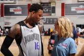 Ben McLemore of the Sacramento Kings speaks with NBATV reporter Lesley McCaslin after the game between the Sacramento Kings and the Minnesota...