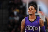 Ben McLemore of the Sacramento Kings stands on the court during a game against the Denver Nuggets on February 23 2014 at the Pepsi Center in Denver...