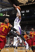 Ben McLemore of the Sacramento Kings takes the ball to the basket against the Cleveland Cavaliers at Sleep Train Arena on January 12 2014 in...