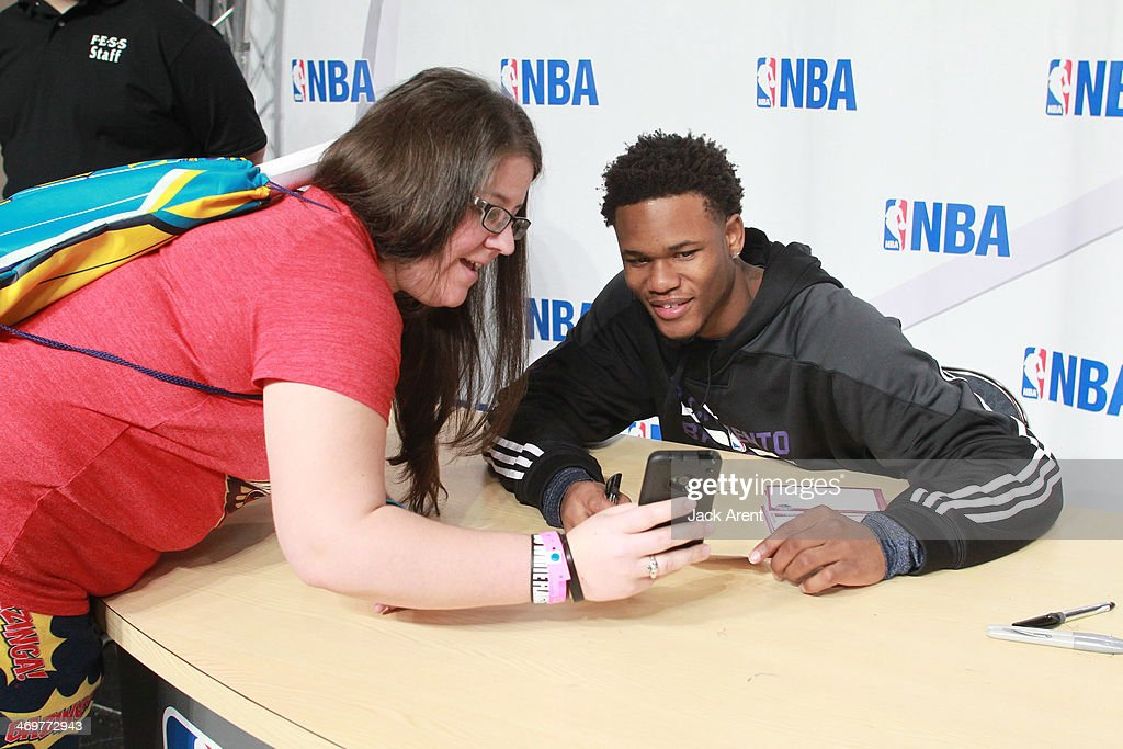 Ben McLemore #16 of the Sacramento Kings views a fans cell phone recording of his slam dunk over Shaq during the 2014 NBA All-Star Jam Session at the Ernest N. Morial Convention Center on February 15, 2014 in New Orleans, Louisiana