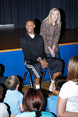 Ben McLemore of the Sacramento Kings visits with kids at Dyer Kelly school on March 25 2014 in Sacramento California NOTE TO USER User expressly...