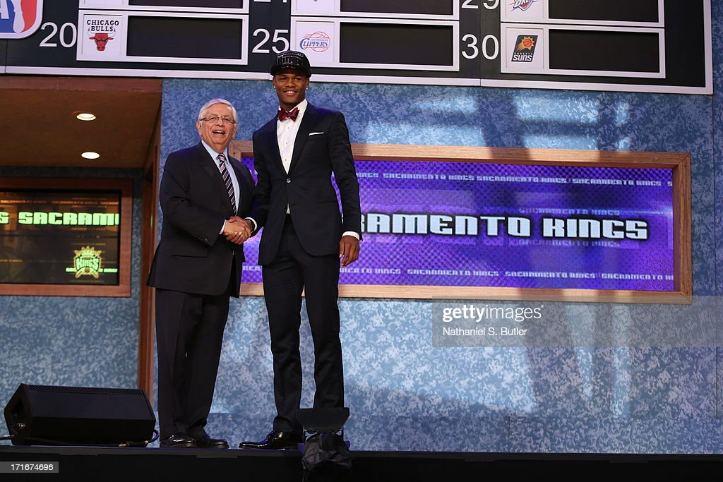 Ben McLemore shakes hands with NBA Commissioner, David Stern after being selected number seventh overall by the Sacramento Kings during the 2013 NBA Draft on June 27, 2013 at Barclays Center in Brooklyn, New York.