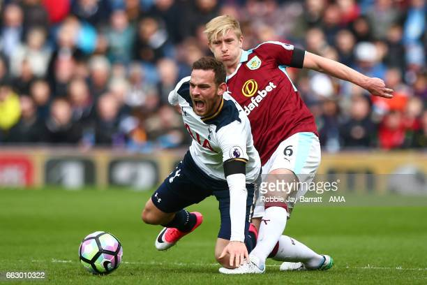 Ben Mee of Burnley and Vincent Janssen of Tottenham Hotspur during the Premier League match between Burnley and Tottenham Hotspur at Turf Moor on...