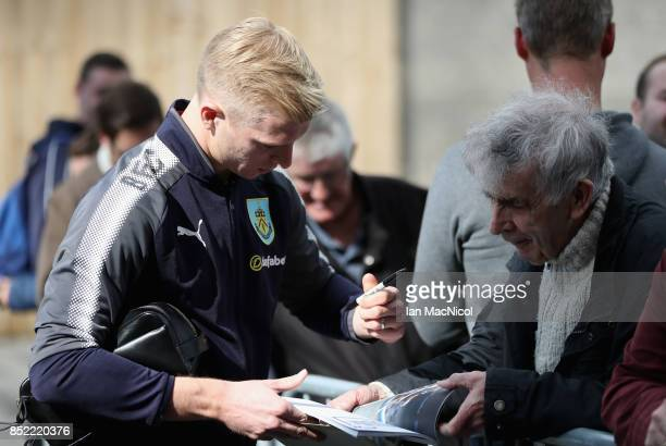Ben Mee of Burnley arrives at the stadium prior to the Premier League match between Burnley and Huddersfield Town at Turf Moor on September 23 2017...