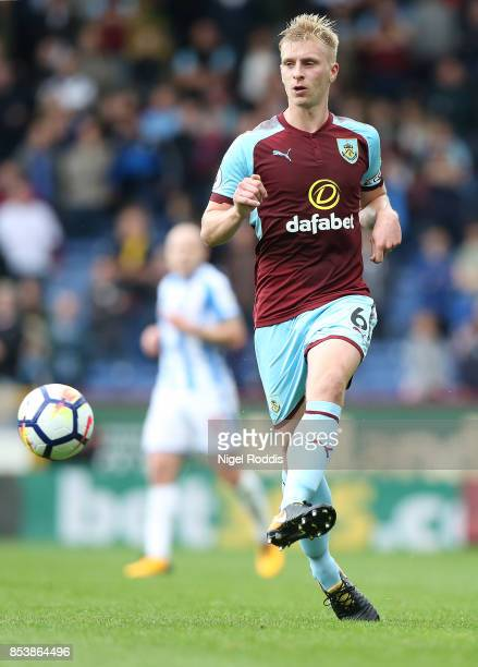 Ben Mee of Burnley during the Premier League match between Burnley and Huddersfield Town at Turf Moor on September 23 2017 in Burnley England