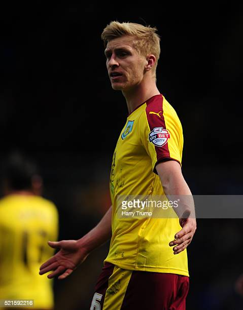 Ben Mee of Burnley during the Sky Bet Championship match between Birmingham City and Burnley at St Andrews Stadium on April 16 2016 in Birmingham...