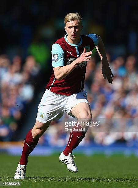 Ben Mee of Burnley in action during the Barclays Premier League match between Everton and Burnley at Goodison Park on April 18 2015 in Liverpool...