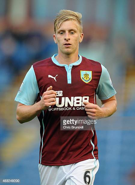 Ben Mee of Burnley in action during the pre season friendly match between Burnley and Celta Vigo at Turf Moor on August 05 2014 in Burnley England