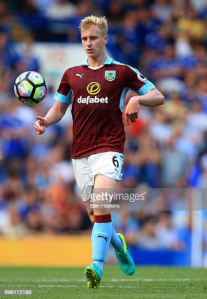 Ben Mee of Burnley in action during the Premier League match between Chelsea and Burnley at Stamford Bridge on August 27 2016 in London England