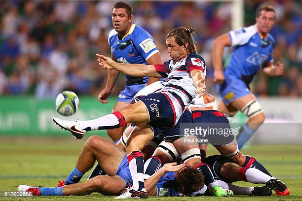Ben Meehan of the Rebels clears the ball during the round one Super Rugby match between the Force and the Rebels at nib Stadium on February 27 2016...