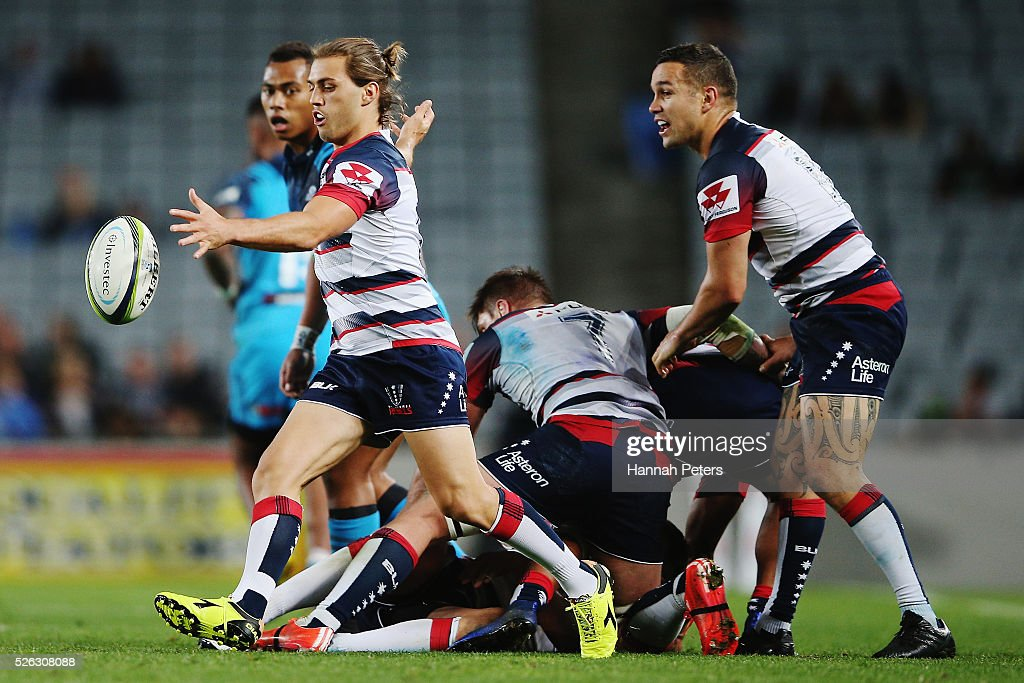 Ben Meehan of the Rebels kicks the ball through during the Super Rugby round ten match between the Blues and the Melbourne Rebels at Eden Park on April 30, 2016 in Auckland, New Zealand.