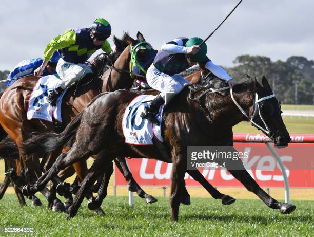 Ben Melhalm riding Hunting Hill wins Race 3 during Melbourne Racing at Sandown Hillside on July 26 2017 in Melbourne Australia