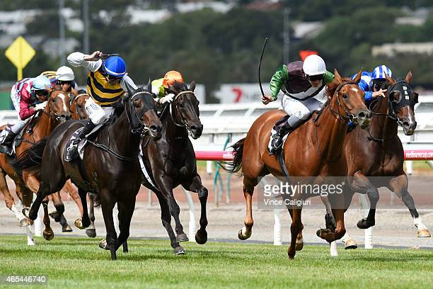 Ben Melham riding Crafty Cruiser wins Race 5 the Roy Higgins Quality during Australian Guineas Day at Flemington Racecourse on March 7 2015 in...