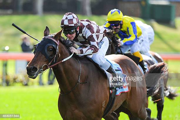 Ben Melham riding riding Backbone wins Race 3 the Melbourne Signage Concepts Handicap during Melbourne racing at Moonee Valley Racecourse on August 2...
