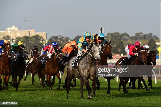 Ben Melham riding Silverball wins Race 8 the Ross Stevenson Trophy during Melbourne Racing at Flemington Racecourse on April 11 2015 in Melbourne...