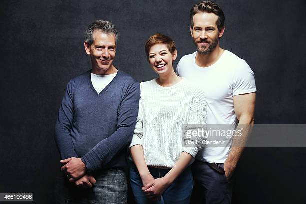 Ben Mendelsohn Analeigh Tipton and Ryan Reynolds from the film 'Mississippi Grind' pose for a portrait for the Los Angeles Times at the 2015 Sundance...