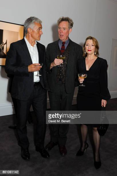 Ben Miles Alex Jennings and Lesley Manville attend the 'Vivien The Vivien Leigh Collection' drinks reception at Sotheby's on September 21 2017 in...