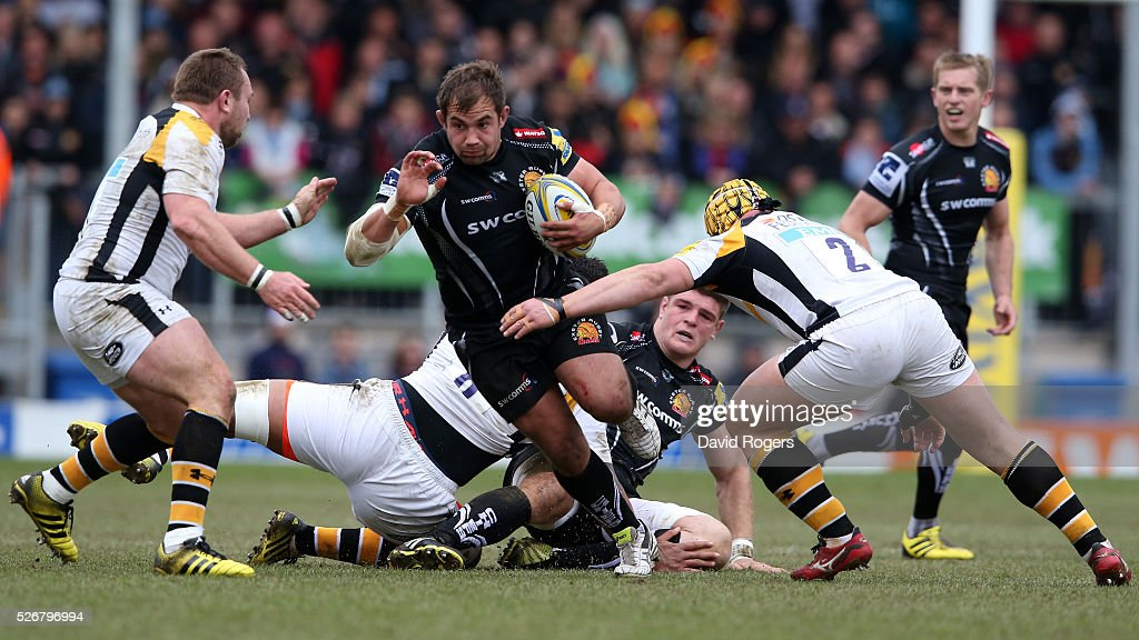 Ben Moon of Exeter charges upfield during the Aviva Premiership match between Exeter Chiefs and Wasps at Sandy Park on May 1, 2016 in Exeter, England.