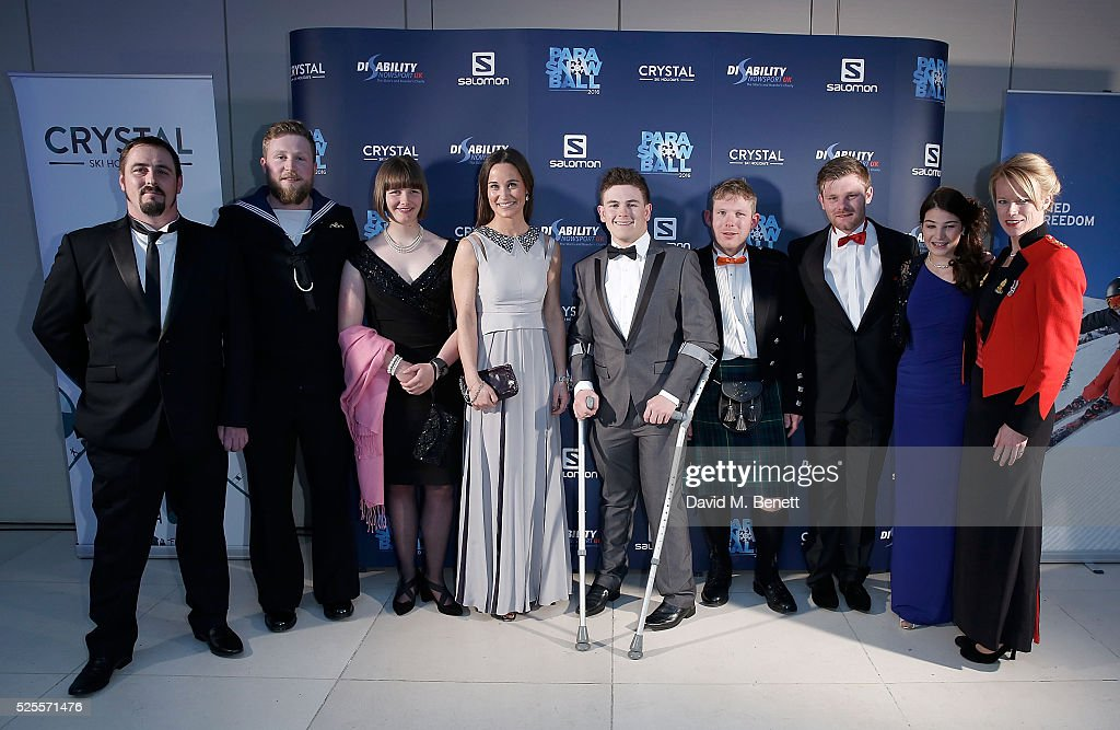 Ben Moore, Brett Wild, <a gi-track='captionPersonalityLinkClicked' href=/galleries/search?phrase=Millie+Knight&family=editorial&specificpeople=12423053 ng-click='$event.stopPropagation()'>Millie Knight</a>, <a gi-track='captionPersonalityLinkClicked' href=/galleries/search?phrase=Pippa+Middleton&family=editorial&specificpeople=4289296 ng-click='$event.stopPropagation()'>Pippa Middleton</a>, Alex Clarke, Michael Kear, Owen Pick, Menna Fitzpatrick and Jen Kehoe attend ParaSnowBall 2016 Disability Snowsport UK sponsored by Crystal Ski Holidays and Salomon, at The Hurlingham Club on April 28, 2016 in London, England.