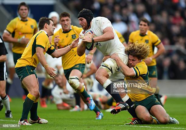 Ben Morgan of England charges toward the try line during the QBE international match between England and Australia at Twickenham Stadium on November...