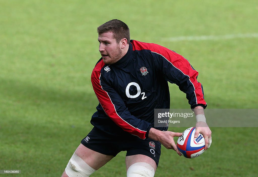 Ben Morgan of England in action during an England training session at Pennyhill Park on January 31, 2013 in Bagshot, England.