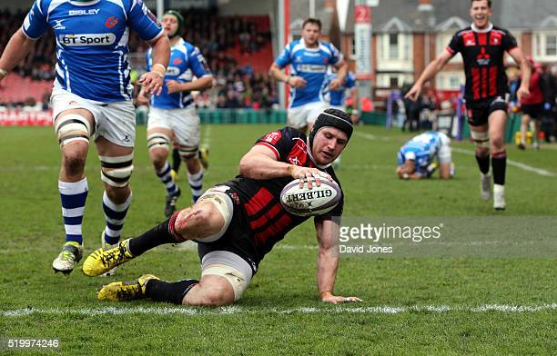Ben Morgan of Gloucester Rugby scores a try against Newport Gwent Dragons during the European Rugby Challenge Cup match between Gloucester Rugby and...
