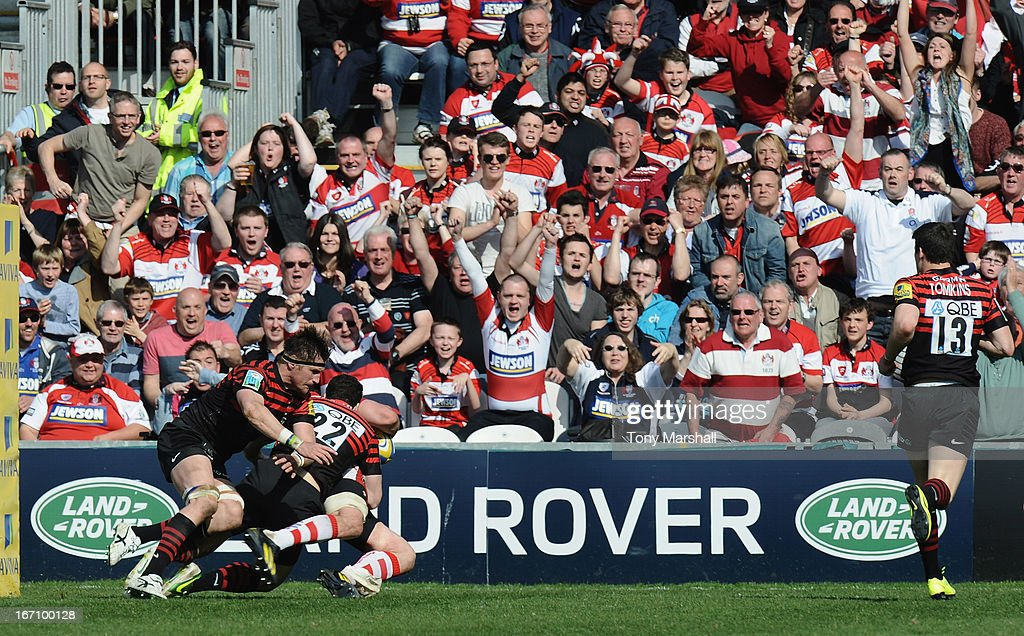 Ben Morgan of Gloucestergoes over to score a try during the Aviva Premiership match between Gloucester and Saracens at Kingsholm Stadium on April 20, 2013 in Gloucester, England.