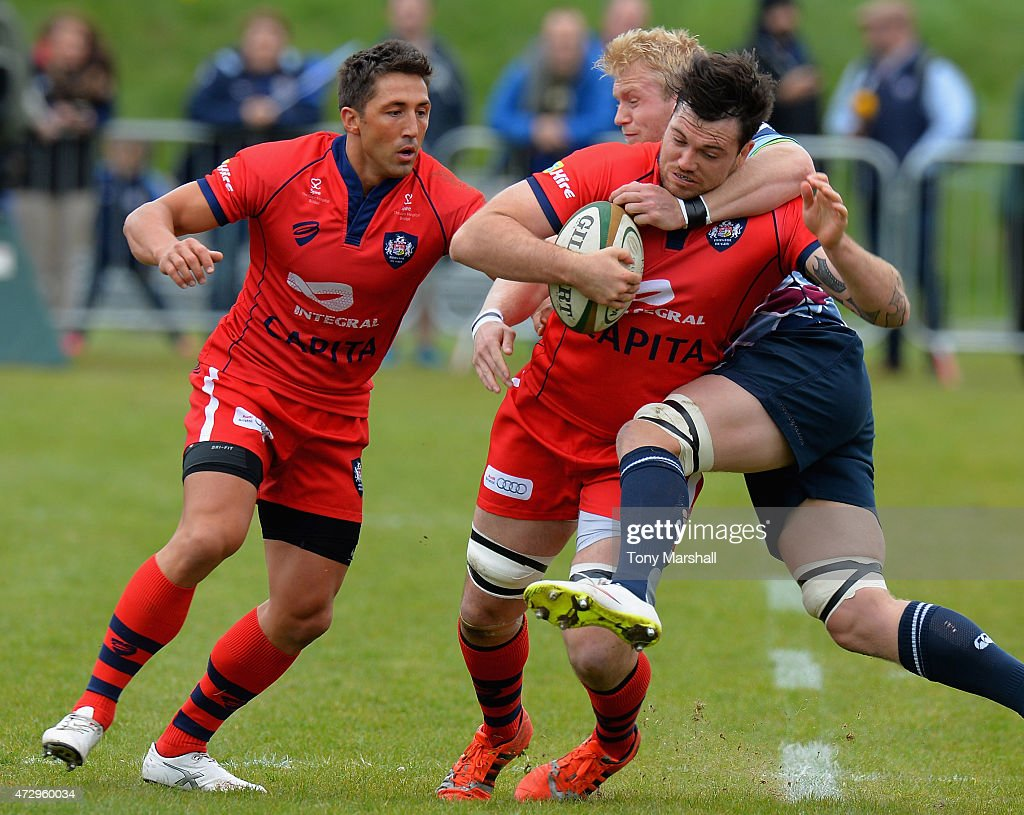 Ben Morris of Rotherham Titans tackles Glen Townson of Bristol during the Greene King IPA Championship Playoff Semi-Final match between Rotherham Titans and Bristol at the Abbeydale Sports Ground on May 10, 2015 in Rotherham, England.