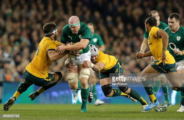 Ben Mowen of Australia tries to tackle Paul O'Connell of Ireland during the International match between Ireland and Australia at Aviva Stadium on...
