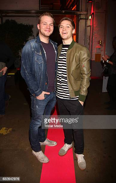 Ben Muenchow and Jonas Nay attend the warmup party by Filmfoerderung Hamburg SchleswigHolstein at Kampnagel on January 24 2017 in Hamburg Germany