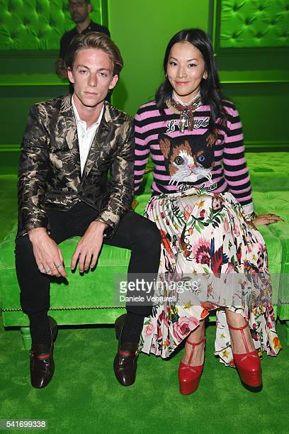 Ben Nordberg and Tina Leung attend the Gucci show during Milan Men's Fashion Week SS17 on June 20 2016 in Milan Italy