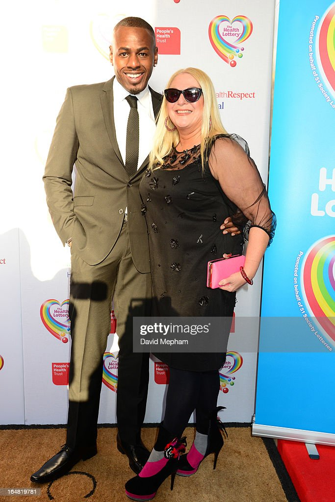 Ben Ofedu and Vanessa Feltz sighted arriving for The Health Lottery Fundraising Event outside Claridges Hotel on March 28, 2013 in London, England.