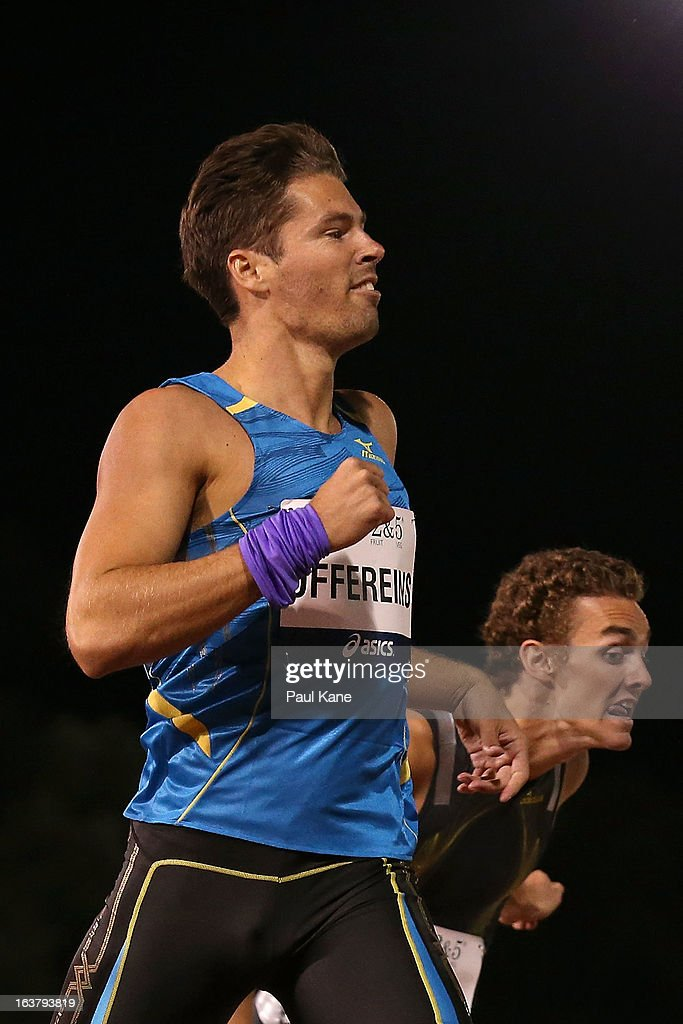 Ben Offereins crosses the line in second place ahead of Joshua Ralph in the mens open 400 metre race during the Perth Track Classic at the WA Athletics Stadium on March 16, 2013 in Perth, Australia.