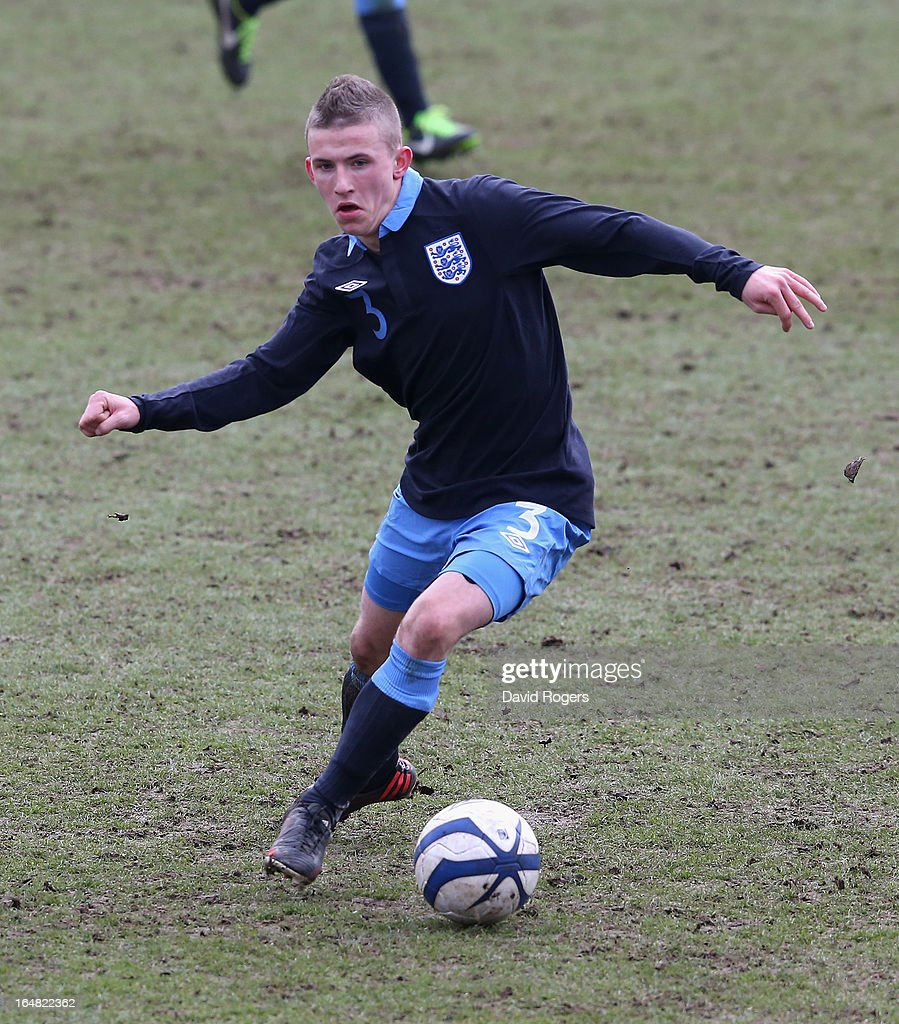 Ben O'Hanlon of England runs with the ball during the UEFA European Under 17 Championship match between England and Slovenia at Pirelli Stadium on March 28, 2013 in Burton-upon-Trent, England.