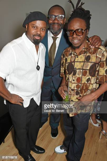 Ben Okri Sir Lenny Henry and Jonzi D attend the Mayor of London's Summer Culture Reception on July 18 2017 in London England