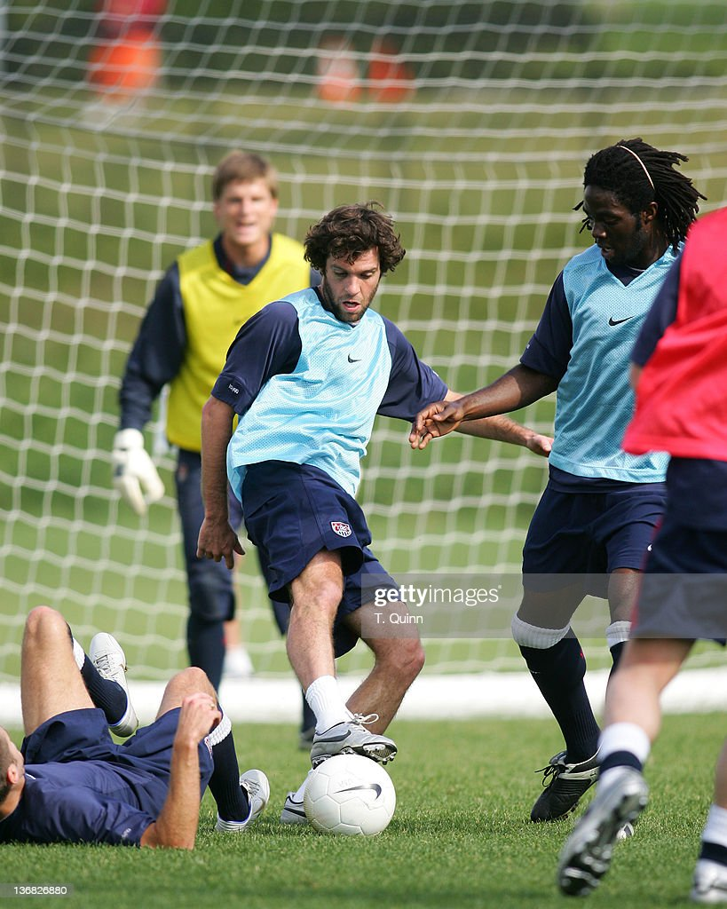 Ben Olsen of DC United and Ugo Ihelmelu of the LA Galaxy at the 2006 USA World Cup team training session on January 22 2006 at the Home Depot Center...