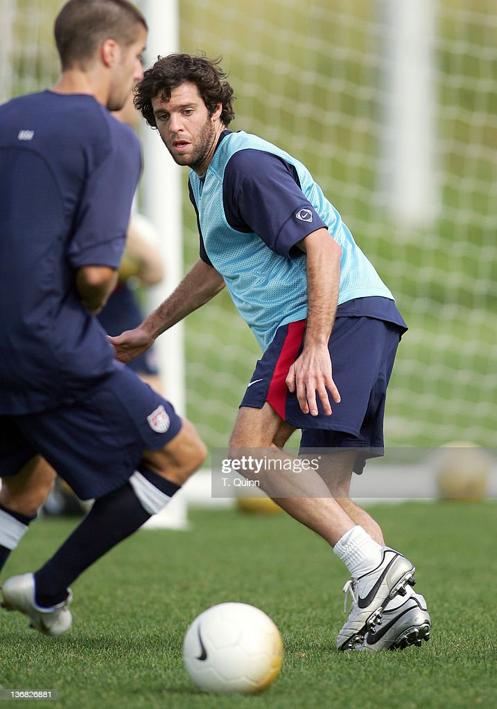 Ben Olsen of DC United keeps his eye on the ball at the 2006 USA World Cup team training session on January 22 2006 at the Home Depot Center in...