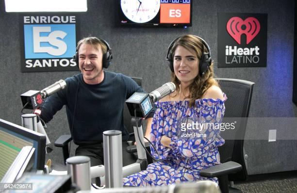 Ben O'Toole and Karla Souza visit the Enrique Santos Show at I Heart Latino Tu949 on February 17 2017 in Miami Florida