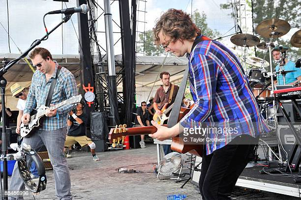 Ben Ottewell and Tom Gray of Gomez performs on stage during Bonnaroo 2009 on June 12 2009 in Manchester Tennessee