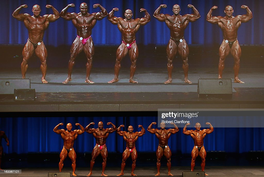 Ben Pakulski of Canada, Toney Freeman of the USA, <a gi-track='captionPersonalityLinkClicked' href=/galleries/search?phrase=Dexter+Jackson+-+Bodybuilder&family=editorial&specificpeople=14164935 ng-click='$event.stopPropagation()'>Dexter Jackson</a> of the USA, Edward Nunn of the USA and Ivan Sadek of Australia pose during the IFBB Australia Pro Grand Prix at The Plenary on March 9, 2013 in Melbourne, Australia.