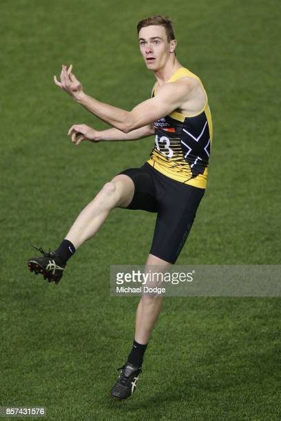 Ben Paton of the Murray Busgrangers kicks the ball at goal during the AFLW Draft Combine at Etihad Stadium on October 4 2017 in Melbourne Australia
