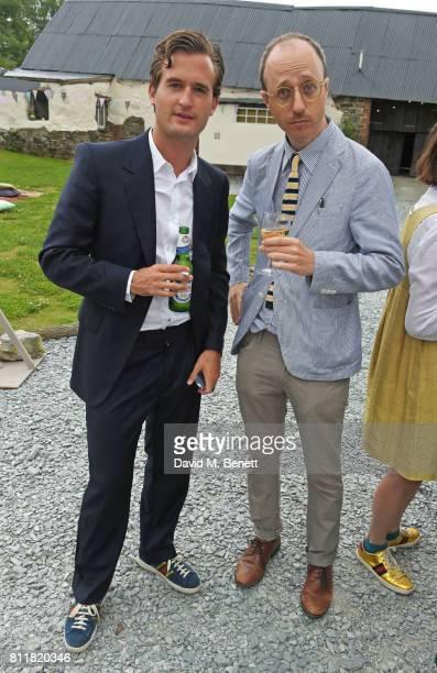 Ben Pawson and Nimrod Kamer attend Greta Bellamacina and Robert Montgomery's wedding on July 8 2017 in Exeter England