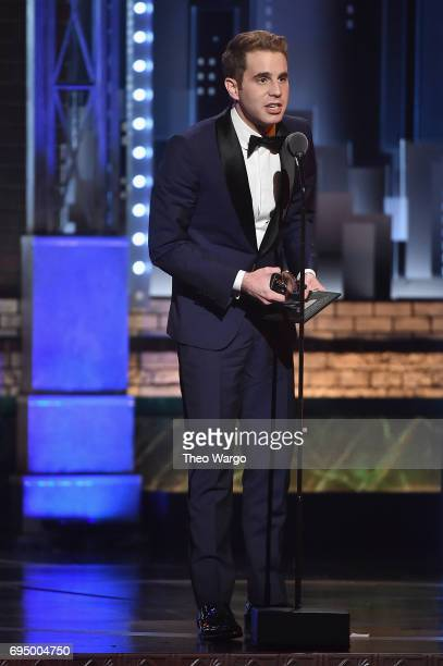 "Ben Platt accepts the award for Best Performance by an Actor in a Leading Role in a Musical for ""Dear Evan Hansen"" onstage during the 2017 Tony..."