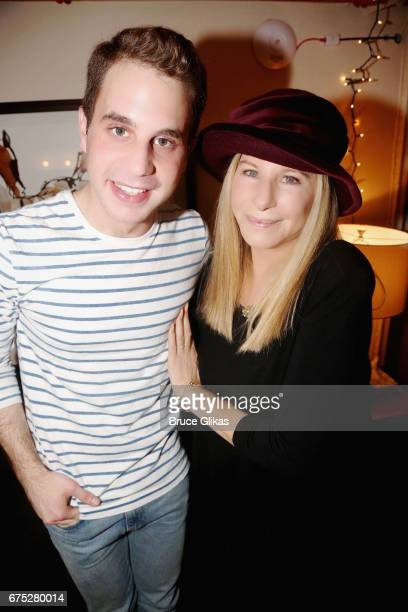 Ben Platt and Barbra Streisand pose backstage at the hit musical 'Dear Evan Hansen' on Broadway at The Music Box Theatre on April 30 2017 in New York...
